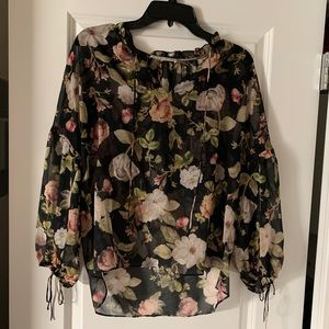 Alice + Olivia floral balloon sleeve blouse